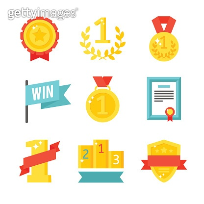 Trophy and awards icons set flat vector illustration
