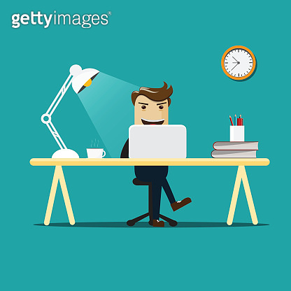 Businessman working on computer.Vector illustration