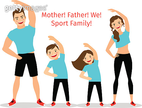 Active family vector illustration
