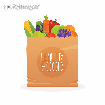 Paper bag with healthy foods. Healthy organic fresh and natural