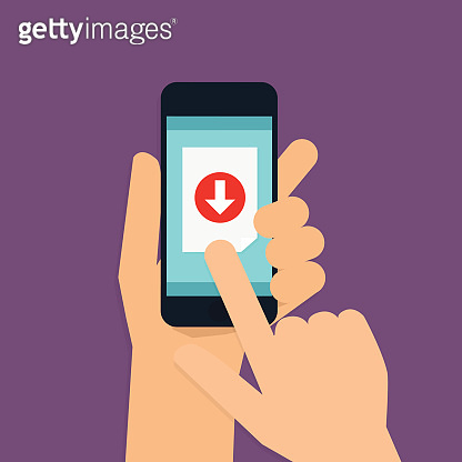 Hand holding mobile smart phone with download app. Vector modern