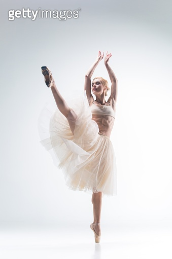 The silhouette of ballerina on white background