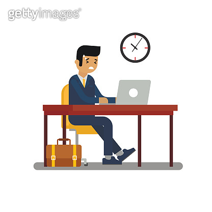 Business man or office worker working at the computer