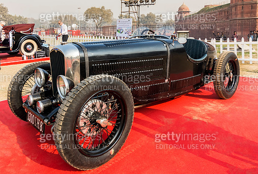 Bugatti vintage retro sports car on display at Red Fort