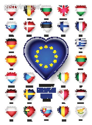 European Union country flags icon, vector