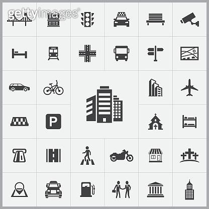 city icons universal set