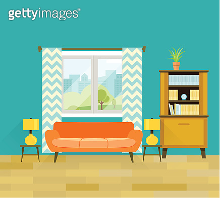 Retro living room with furniture. Flat vector illustration.