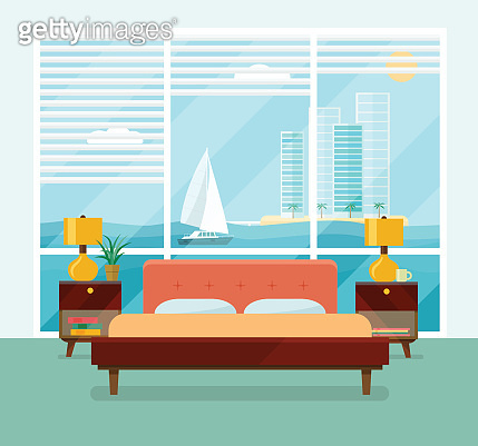 Bedroom with a bed near a window. Vector flat illustration