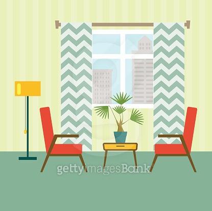 flat retro interior living room. Urban landscape vector illustration
