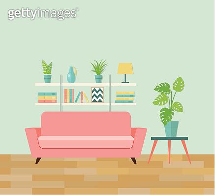 Retro interior living room. Vector flat illustration.
