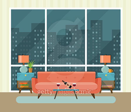 Living room of a penthouse. Vector flat illustration