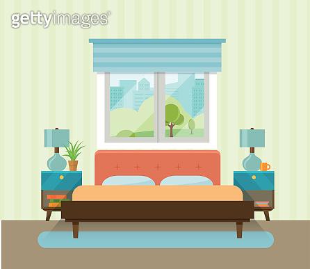 Interior space bedroom. Vector flat illustration
