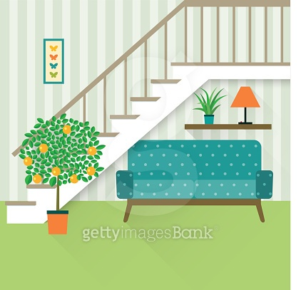 flat place under the stairs with orange tree.vector illustration