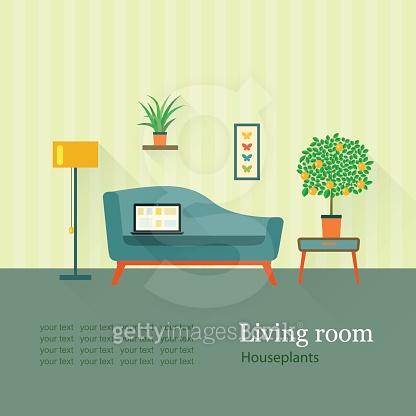 living room. houseplants. orange tree.vector flat illustration