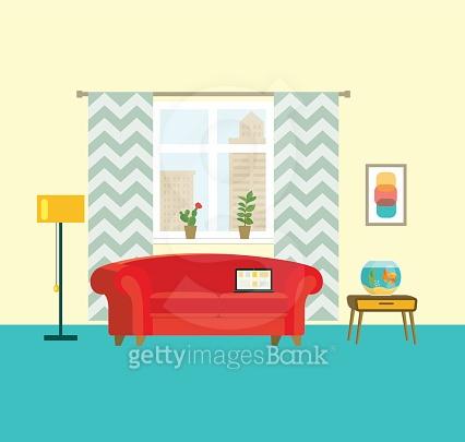 flat retro interior living room with aquarium. vector illustration