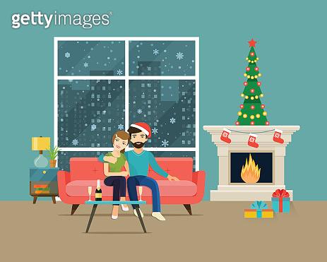Couple sitting on sofa. Christmas room interior.Vector flat illustration