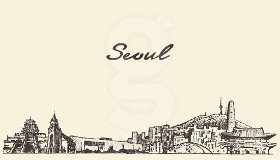 Seoul skyline South Korea illustration draw sketch