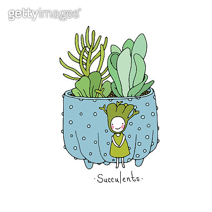 Cartoon cute succulents in pot.