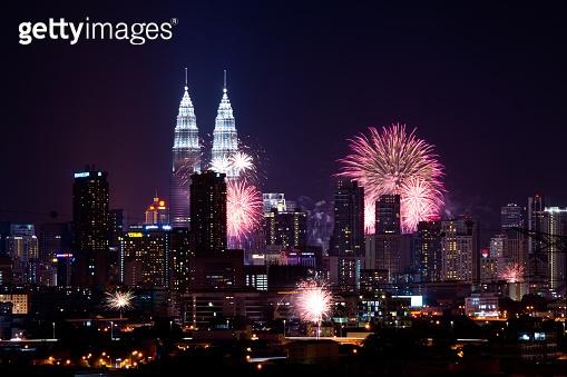 Fireworks over Kuala Lumpur Skyline