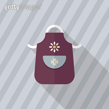 Kitchenware apron flat  icon