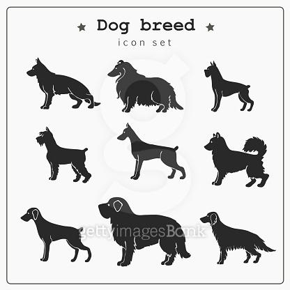 Set of dog breed icons