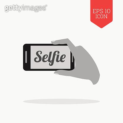 Selfie concept icon. Flat design gray color symbol.