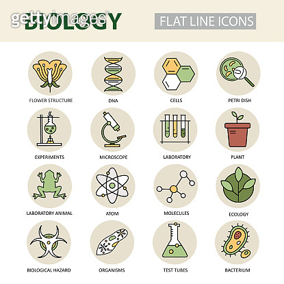 Set of modern linear icons with biology elements.