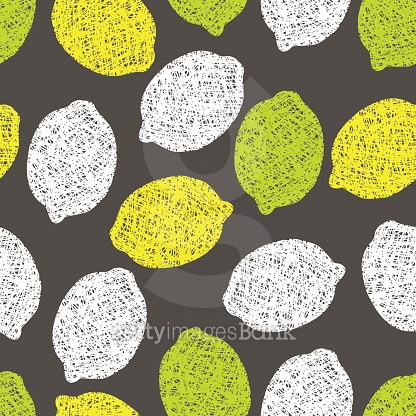 Seamless pattern with lemons scribbles.