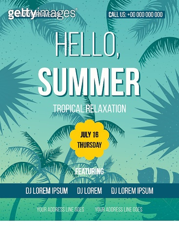 Hello Summer Beach Party Flyer.
