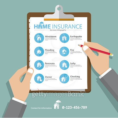 Home  infographics in flat design. Real estate insurance icons. Vector