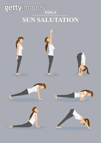 Slim Sporty Woman in Yoga Poses Sun Salutation Series