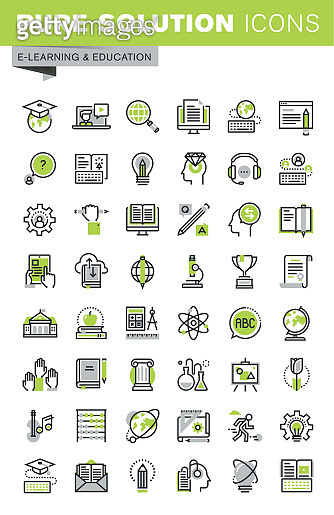 Thin line icons set of distance education