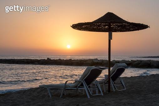 Sunset beach parasol