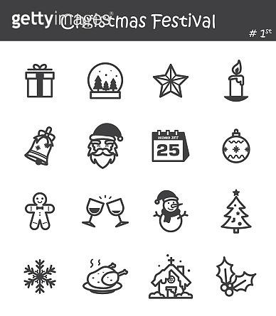 Christmas festival icon set 1