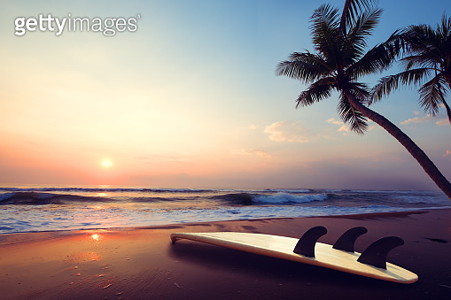 Surfboard on tropical beach at sunset