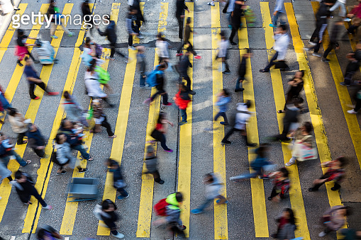 Busy pedestrian crossing at Hong Kong