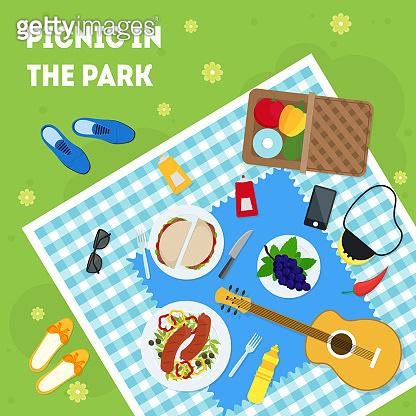 Cartoon Summer Picnic in Park Basket Card Poster. Vector