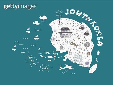 Hand drawn map of South Korea vector illustration, design