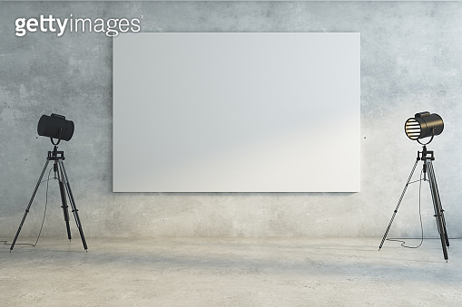 Concrete room with empty whiteboard