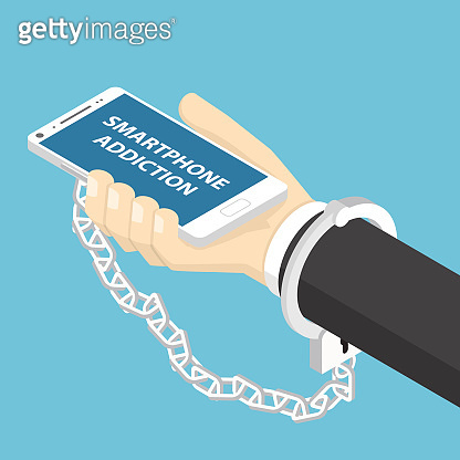 Isometric businessman hand holding smartphone with handcuff.