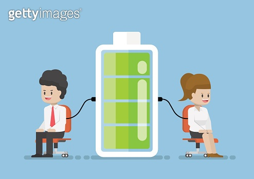 Businessman Character Charging Energy Power From Battery