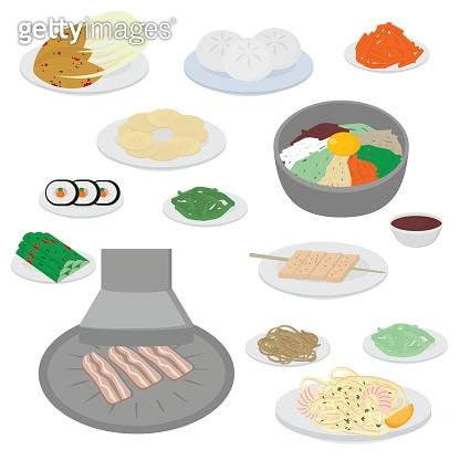 Set of korean food flat design elements. Asian street food menu. Traditional dish kimchi, dumplings, noodle and bibimbap