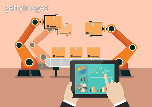 Hand using tablet to control automation robot arm machine