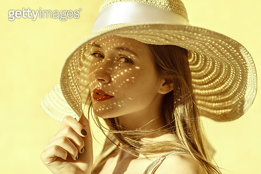 Attractive cheerful woman portrait in summer