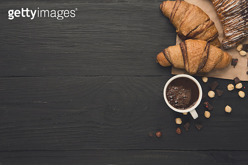 Freshly baked croissants and coffee background