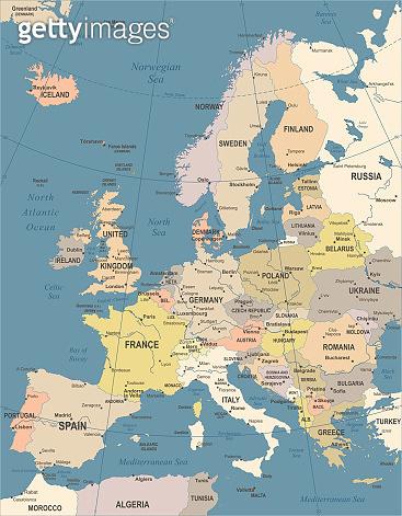 Europe Map - Vintage Vector Illustration