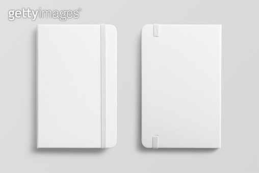 Blank photorealistic notebook mockup on light grey background.
