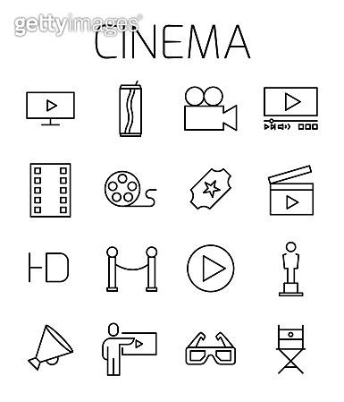 Cinema related vector icon set.