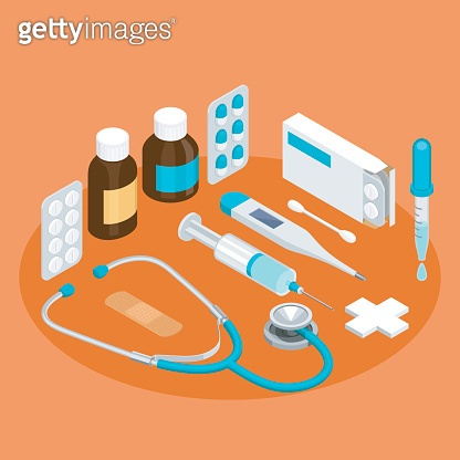 Flat symbols for ad about pharmacy, medical items