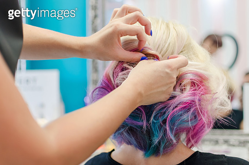 Festive colorful hairstyle